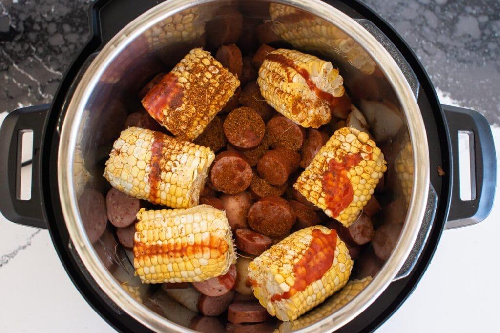 instant pot shrimp boil with sausage potatoes and corn