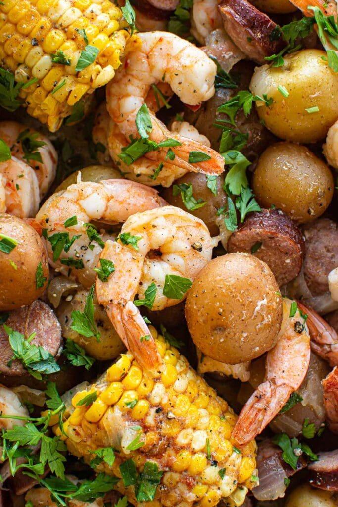 close up instant pot shrimp boil
