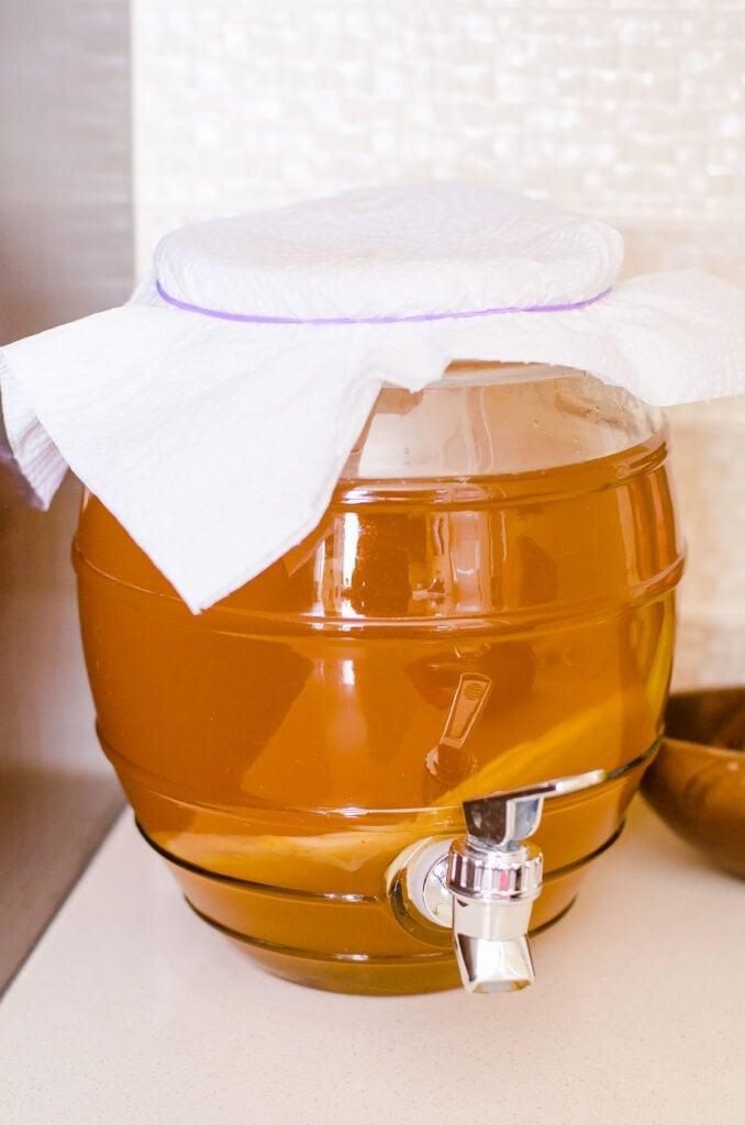 homemade kombucha in a glass jug