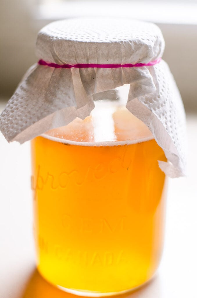 glass jar with kombucha starter and paper towel on top