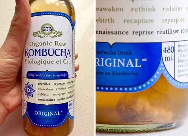 bottle of plain GT's kombucha