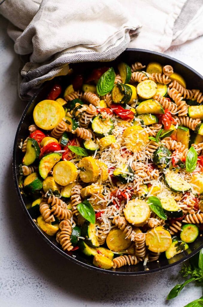 zucchini and pasta in skillet