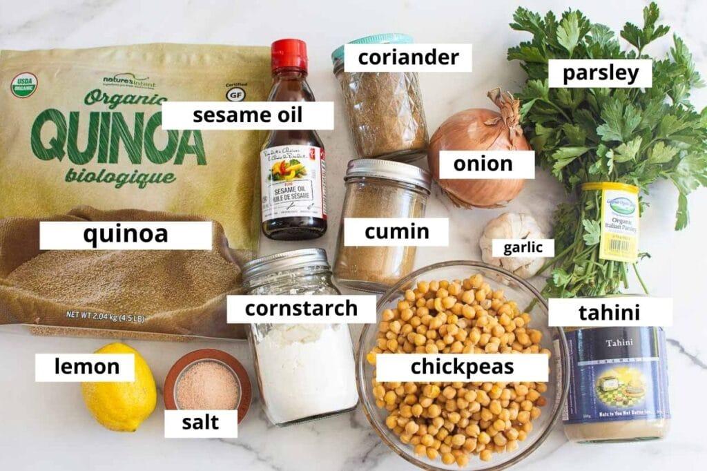 chickpea quinoa falafel ingredients