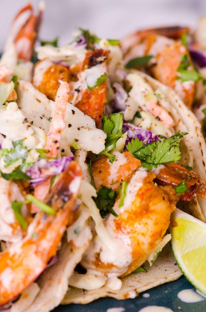 shimp tacos on a plate