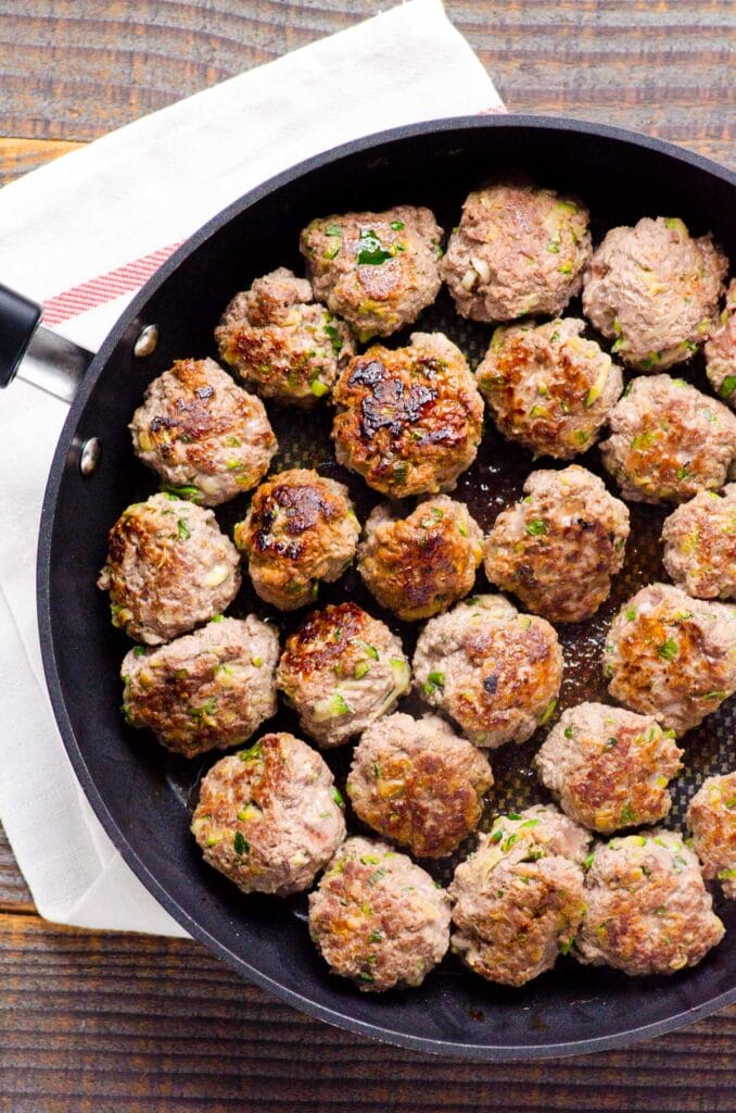 thai meatball recipe in skillet