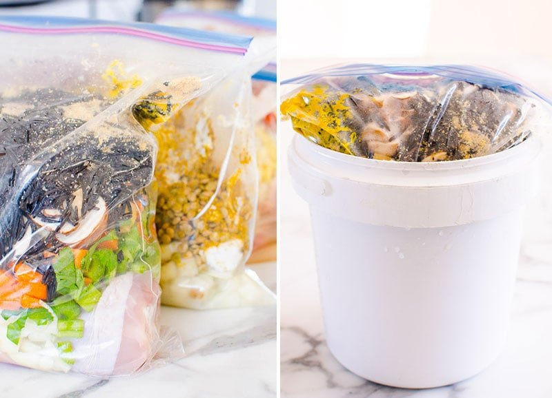 freezer meal in a bucket and on a kitchen counter