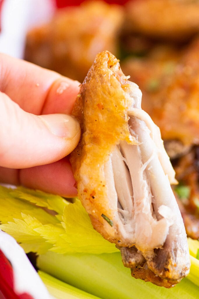 showing how tender the inside of the chicken wings is