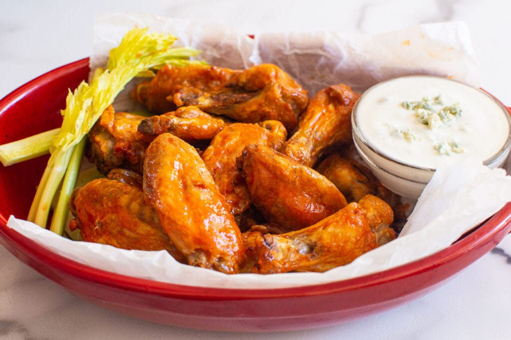 air fryer chicken wings in serving dish