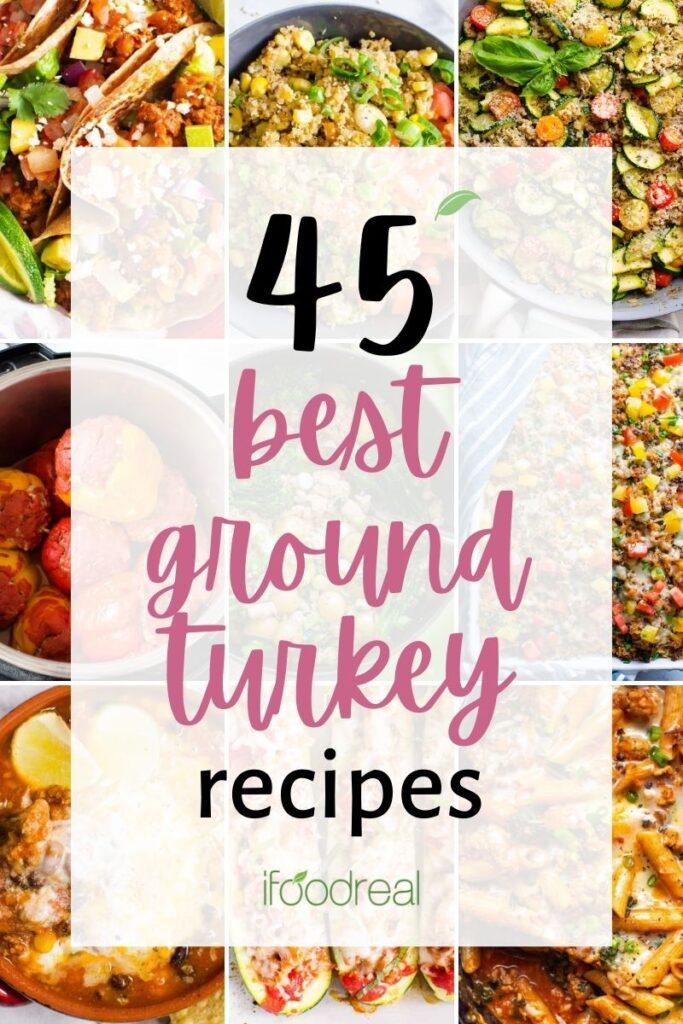 best ground turkey recipes shown in a collage