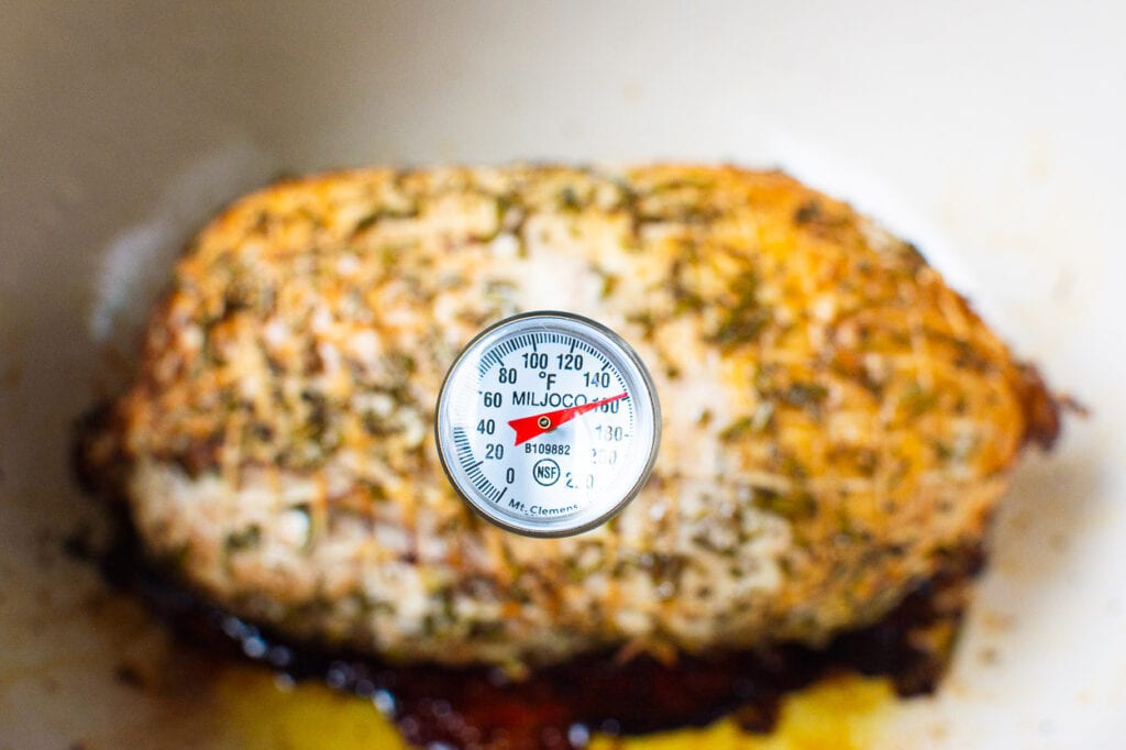 turkey breast internal temp check after removing from oven