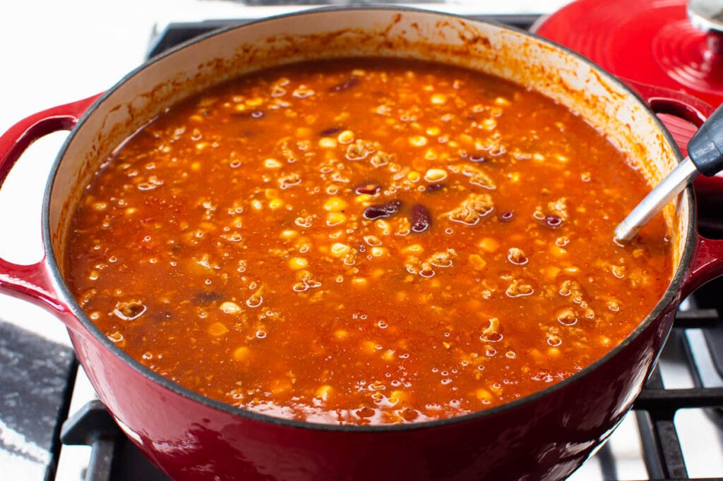 turkey taco soup simmering on stove