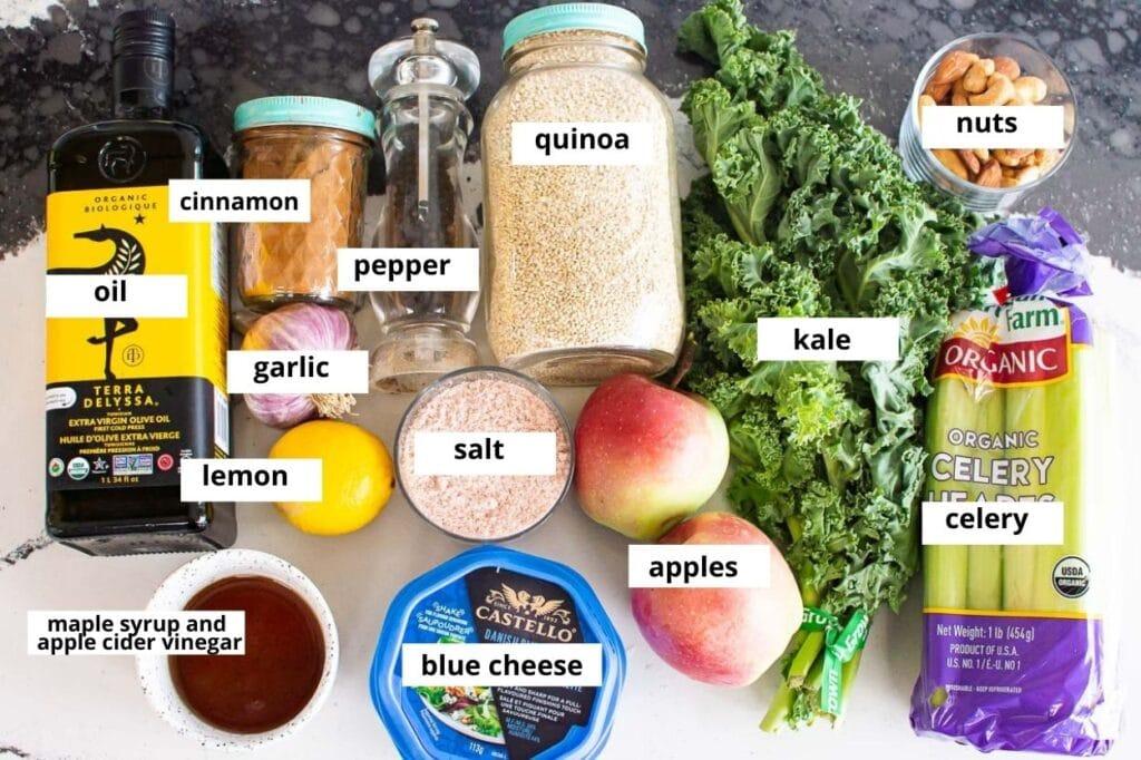 kale and quinoa salad ingredients
