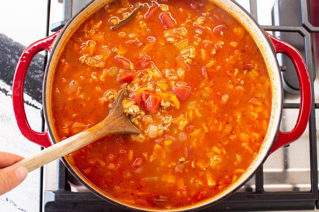 stir and add additional seasonings