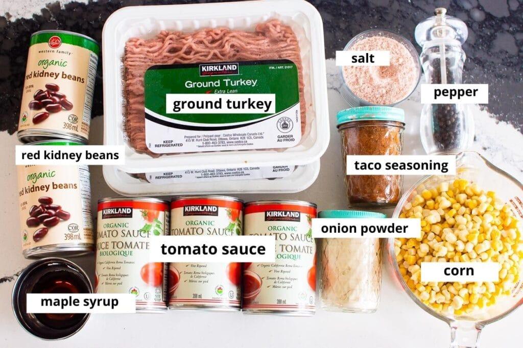 ground turkey taco soup ingredients