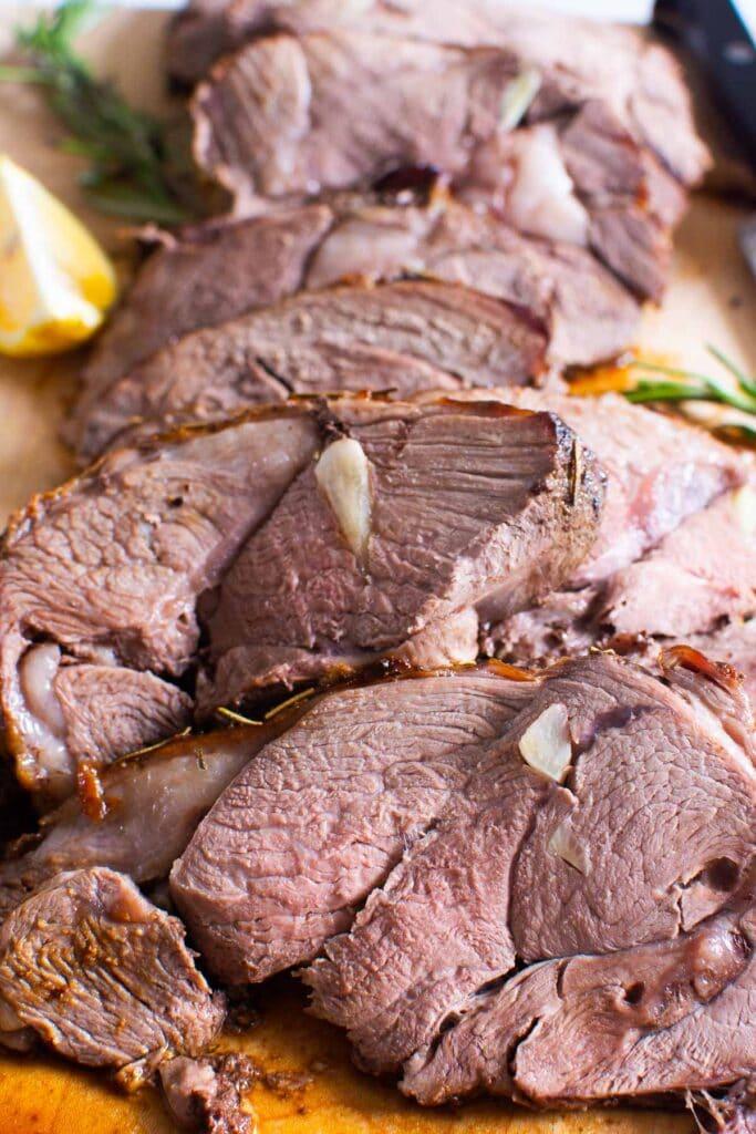 sliced boneless leg of lamb roast