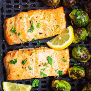 Air Fryer Salmon and Brussels Sprouts