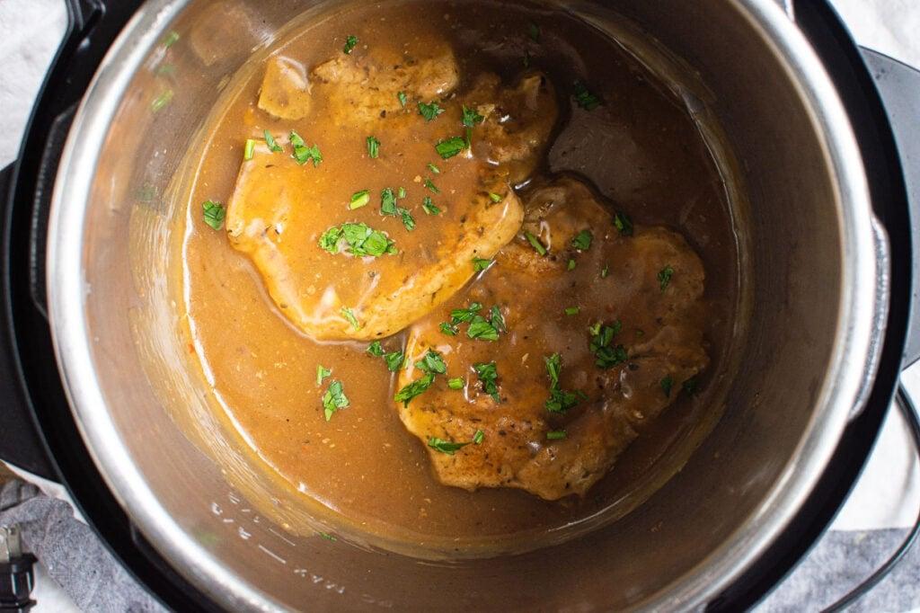pork chops in Instant Pot with gravy