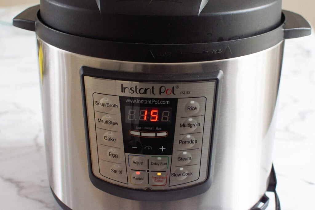 pressure cooker set to 15 minutes