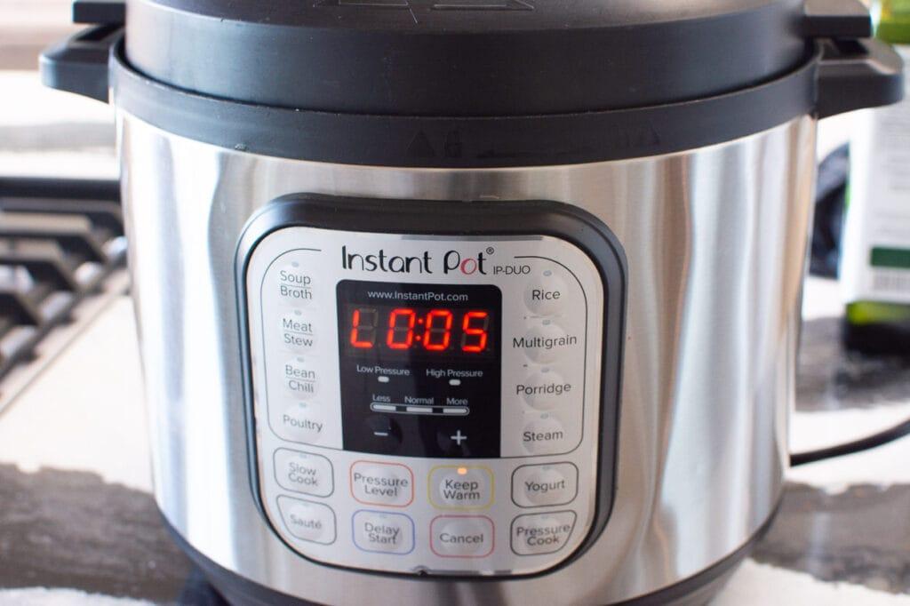 5 min pressure cook on high
