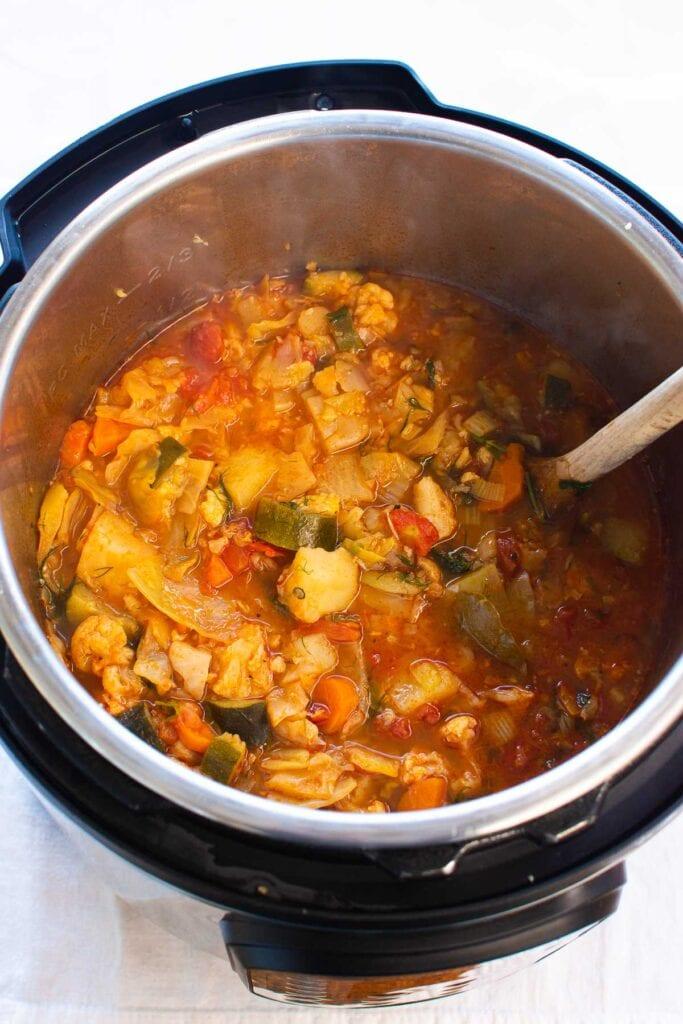 vegetable soup still in instant pot